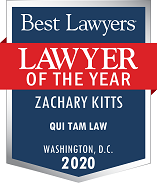Zach Kitts' Qui Tam Lawyer of the Year Plaque